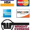 We accept Visa, Master Card, AmEx, Discover, and Wright Express